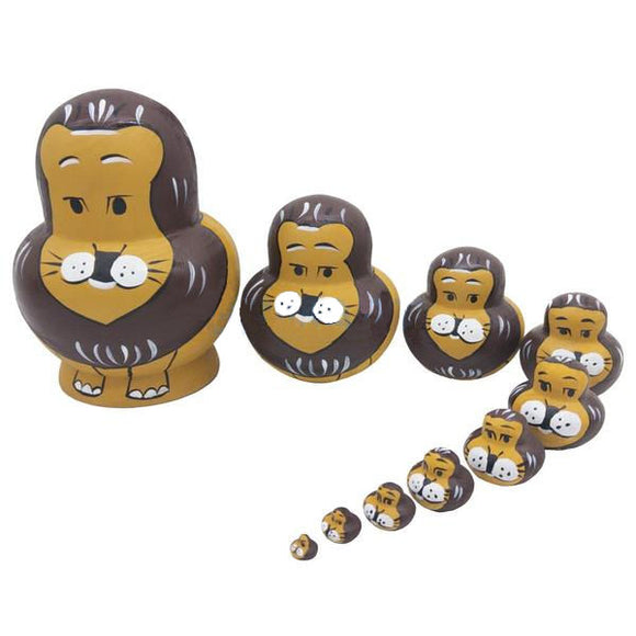 Wooden Lion Matryoshka Nesting Dolls 10 Pieces