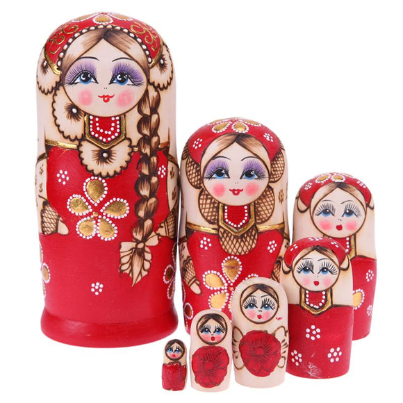 Red Matryoshka Nesting Dolls 7 Pieces
