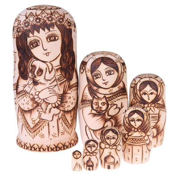 Animal Lover Matryoshka Nesting Dolls 7 Pieces