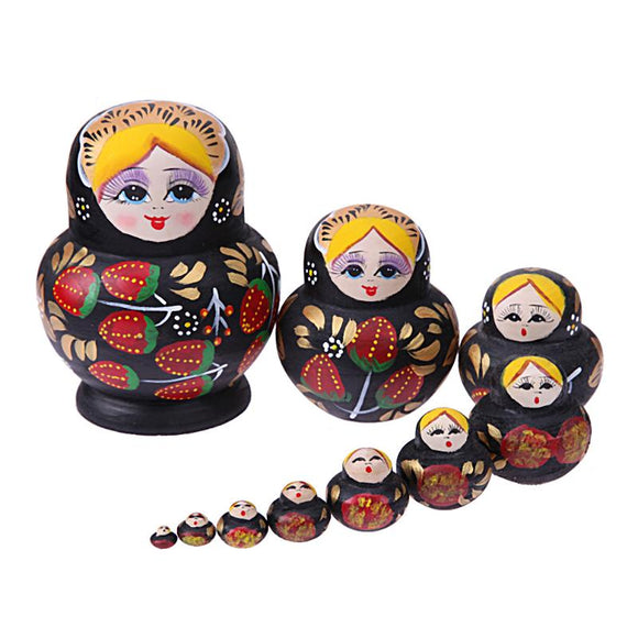 Black and Yellow Matryoshka Nesting Dolls 10 Pieces