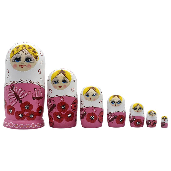 Pink Wooden Matryoshka Nesting Dolls 7 Pieces