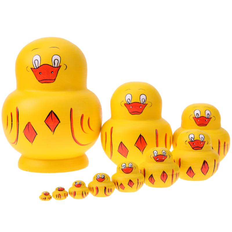 Yellow Ducklings Matryoshka Nesting Dolls 10 Pieces