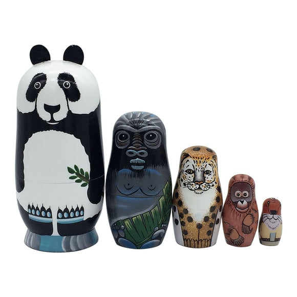 Wild Animals Matryoshka Nesting Dolls 5 Pieces