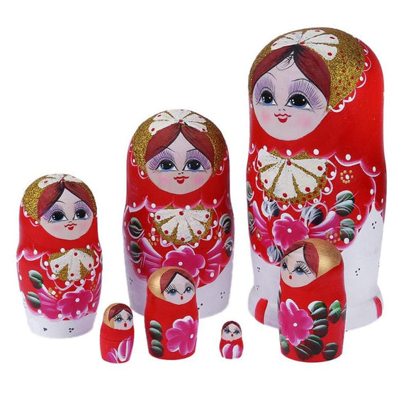 Fancy Red Matryoshka Nesting Dolls 7 Pieces