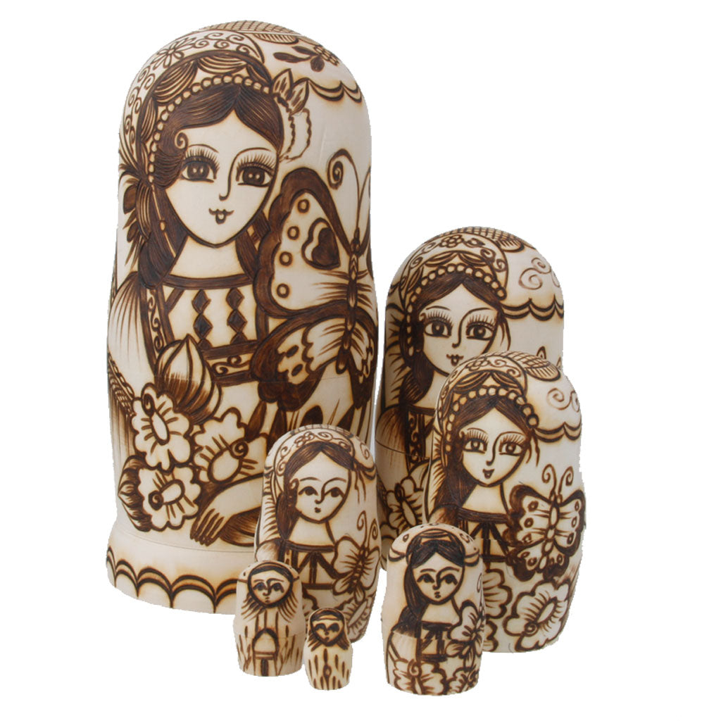 Woman and Butterfly Matryoshka Nesting Dolls 7 Pieces