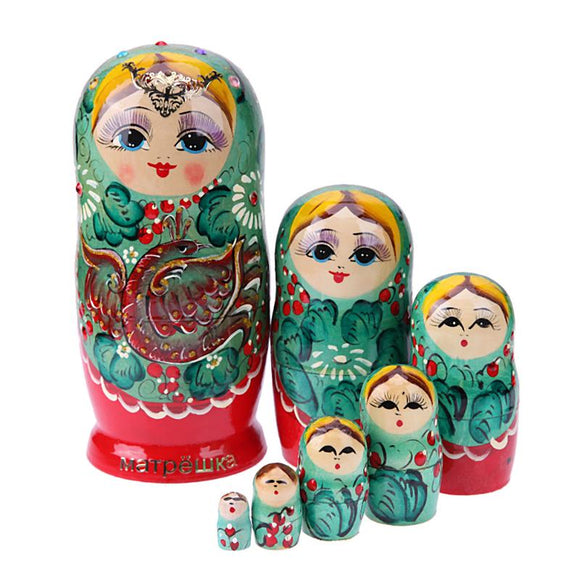 Fancy Green Matryoshka Nesting Dolls 7 Pieces