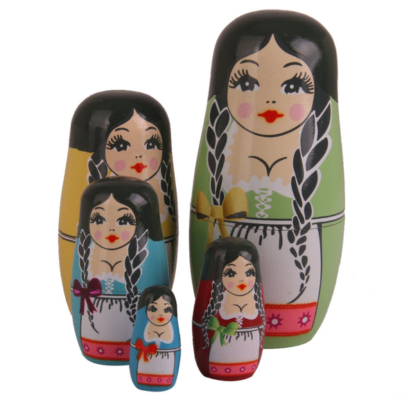 Long-haired Women Matryoshka Nesting Dolls 5 Pieces