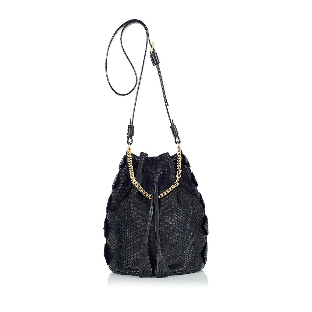 black python bucket bag by gg maull