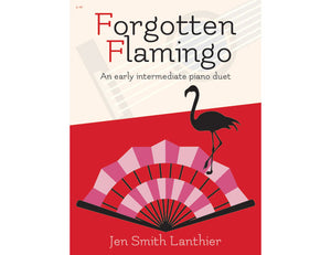 Forgotten Flamingo intermediate Flamenco inspired piano duet sheet music red fan flamingo silhouette