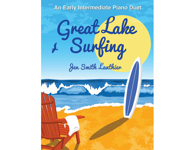 Great Lake Surfing 60s surf style intermediate piano duet sheet music beach surfboard waves sun