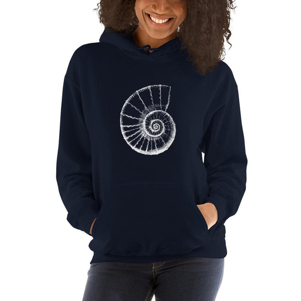 Ammonite Fossil Illustration Hoodie SciDye Navy / S