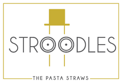 Stroodles Logo Variation with face of Mr. Stroodles and googly eyes and golden hat