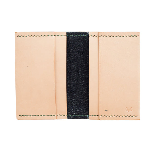 Compact Leather Wallet, Flathead Denim lining - Vincent Brothers (green thread)