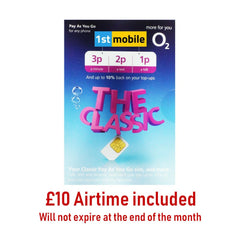 O2 Classic sim cards with £10 airtime