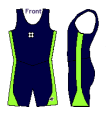Men's Simple Segue Unisuit Navy Blue and Lime Green - NORTH BAY ROWING CLUB JUNIORS