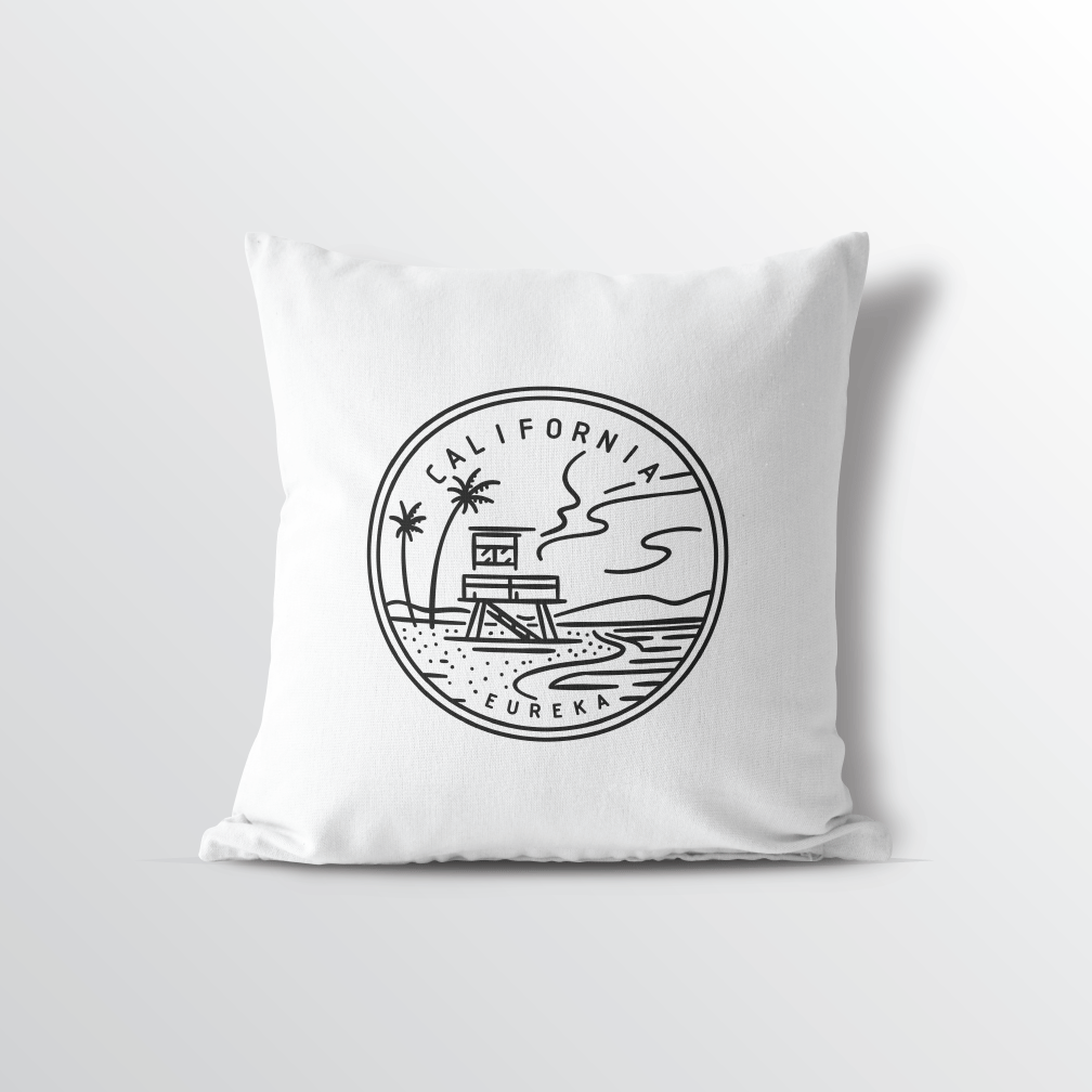 California State Crest Velveteen Throw Pillow - Point Two Design