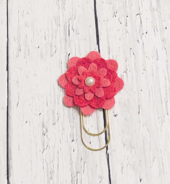 Two-tone Pink Flower Paper Clip
