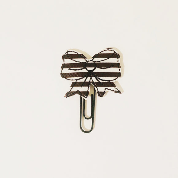 Black and White Stripes Bow Black Paper Clip With Adjustable Back