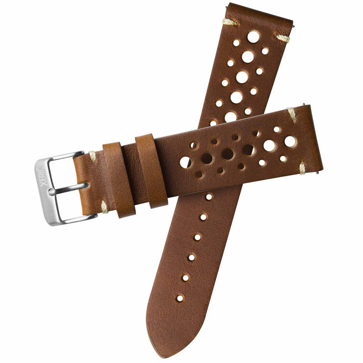 Xeric 22mm Horween Leather Racing Tan Strap Silver Buckle
