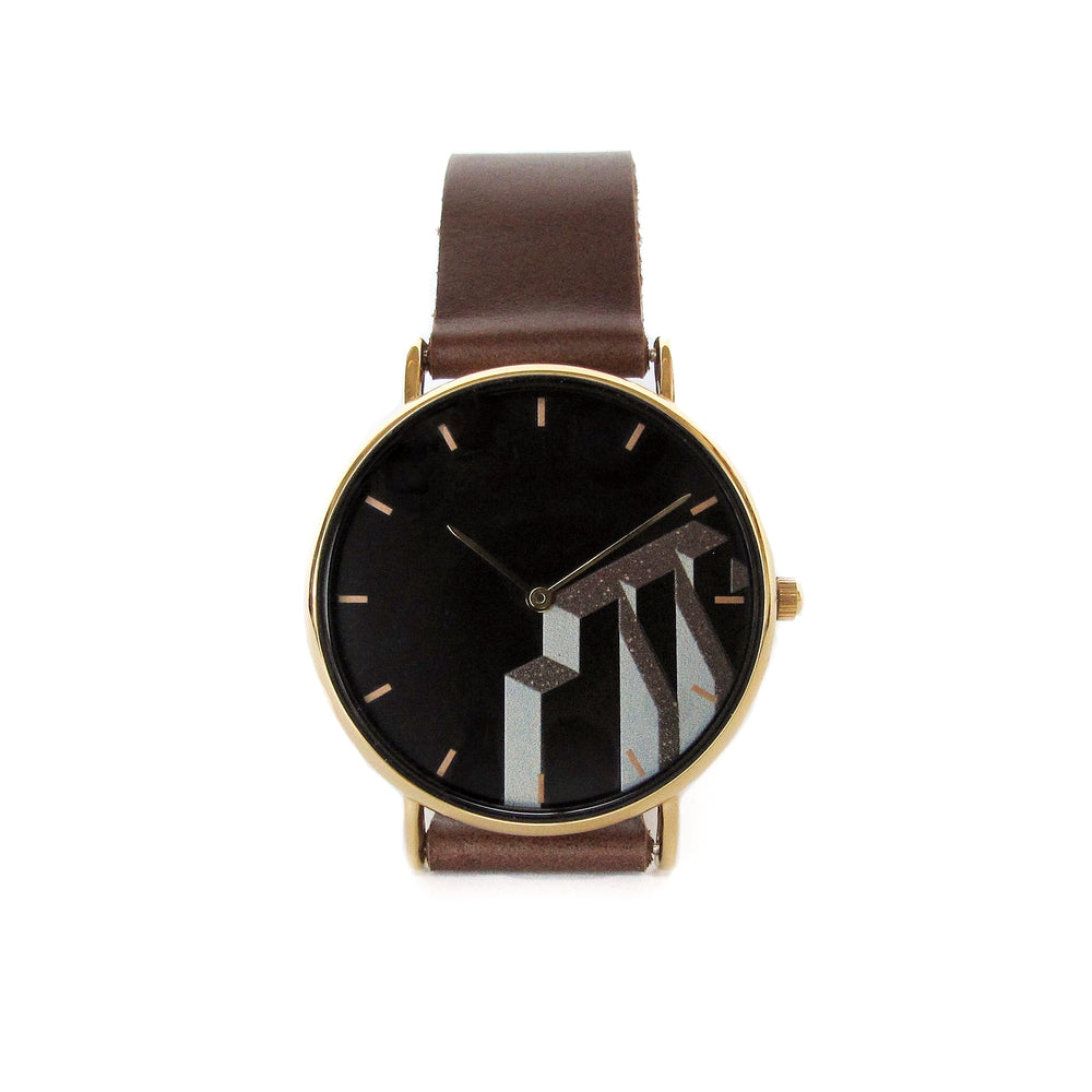 Montre contreforts marron en cuir recyclé