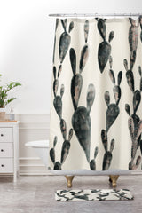 Dash and Ash Midnight Cacti Shower Curtain And Mat