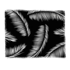 Kelly Haines Monochrome Palm Leaves Throw Blanket