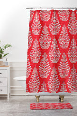 Sharon Turner Spirit Red Shower Curtain And Mat