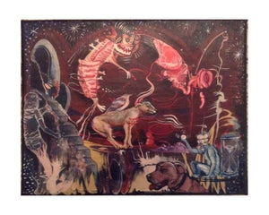 "archival repro of mutantland painting ""Dog Dimension"" on 10""x 8"" canvas"