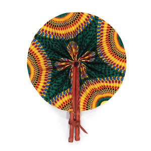 African Fan  - Orange/Green Circle