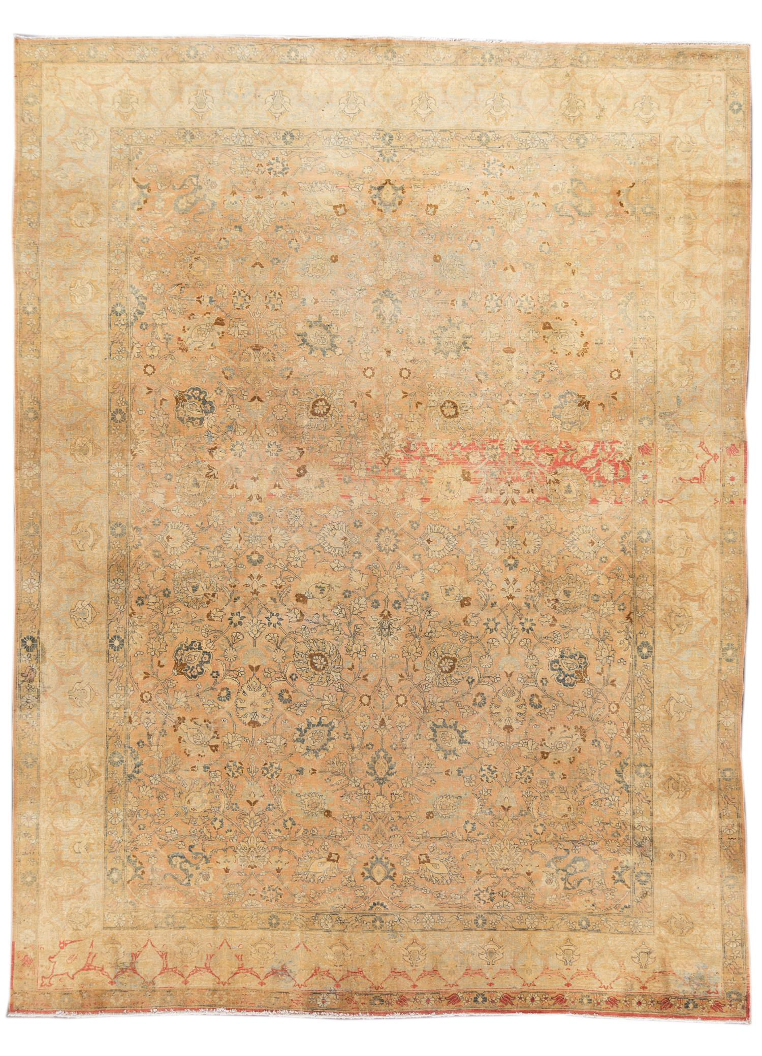 Antique Distressed Tan Persian Tabriz Wool Rug, 10x14