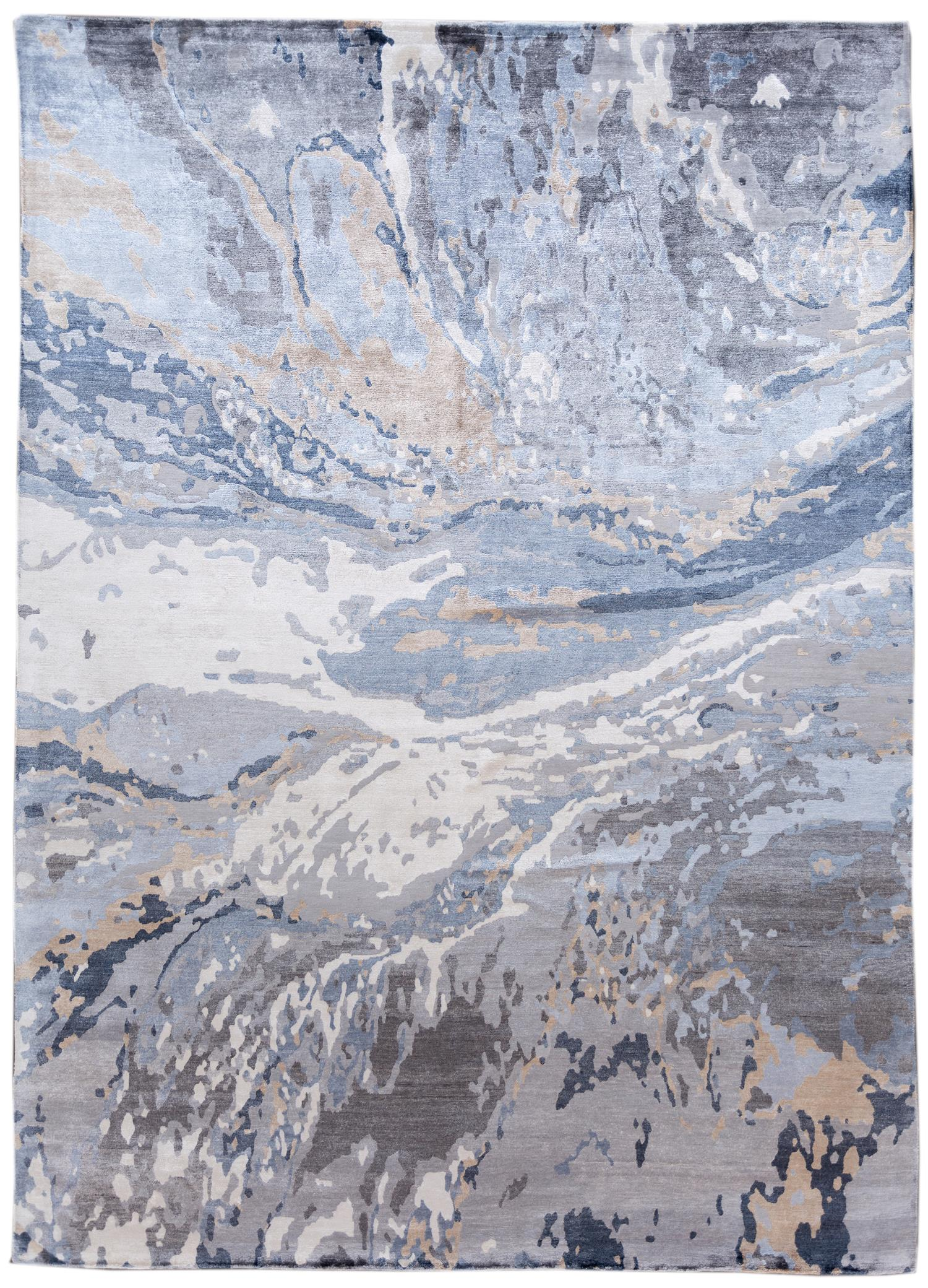 Contemporary Abstract Grey Silk Area Rug,10x14