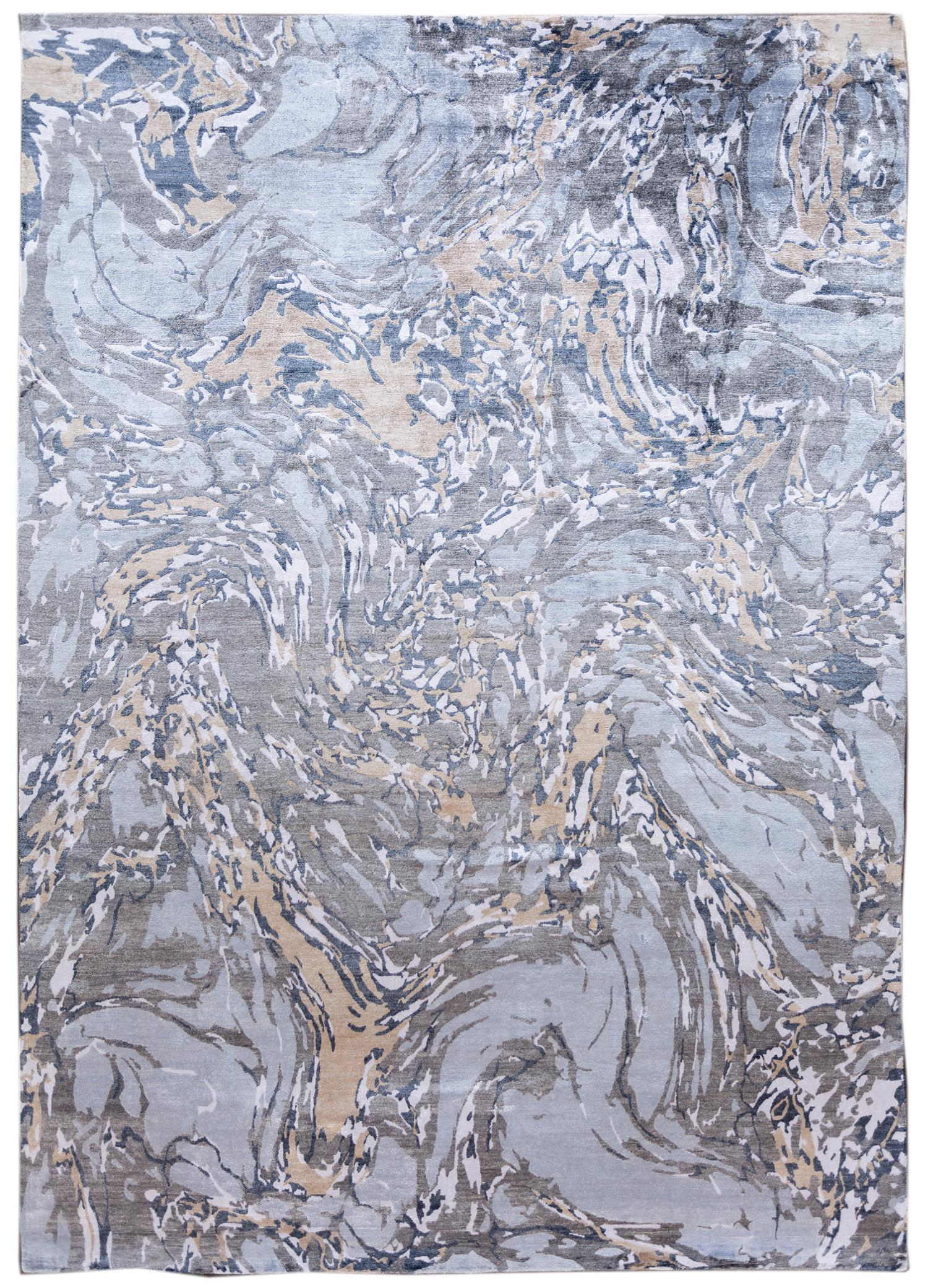 Contemporary Abstract Blue & Grey Silk Area Rug,10x14