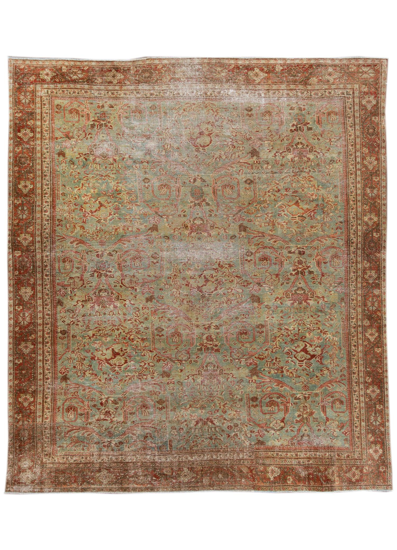 Antique Blue & Rust Malayer Wool Area Rug, 10' x 11'