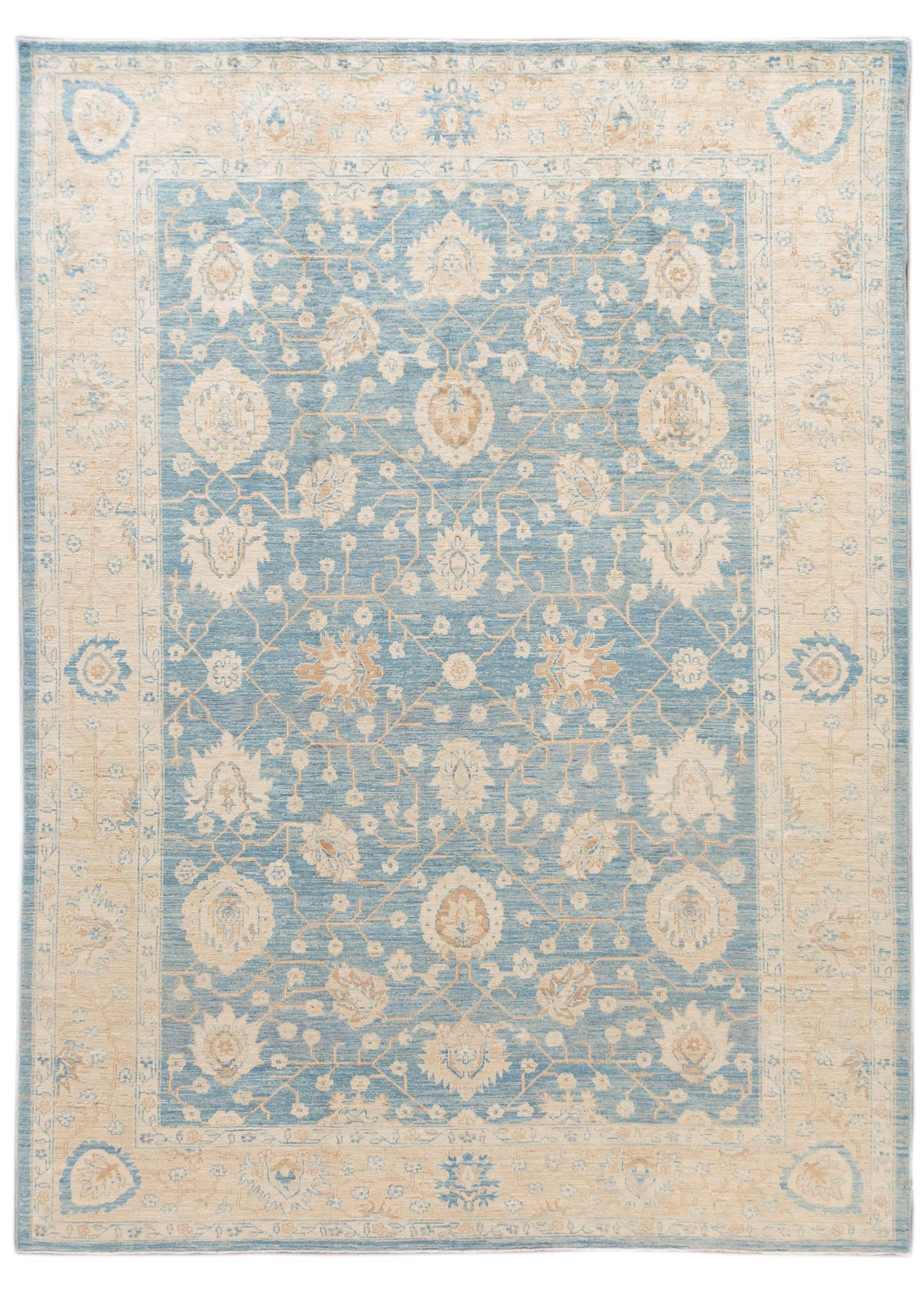 Contemporary Blue and Ivory Oushak-Style Wool Area Rug 9' x 12'