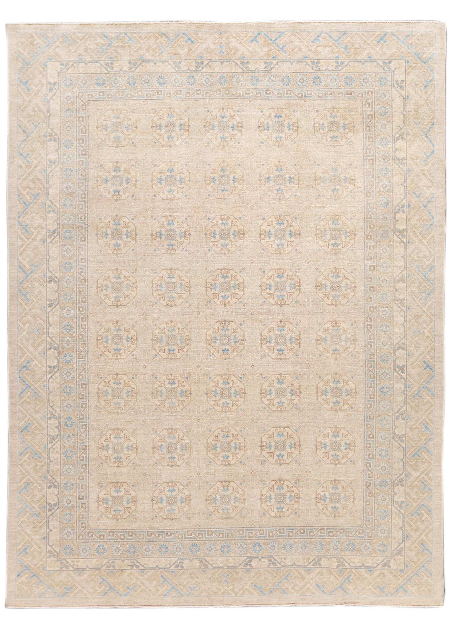 Contemporary Tan & Blue Khotan-Style Wool Area Rug 9' x 12'