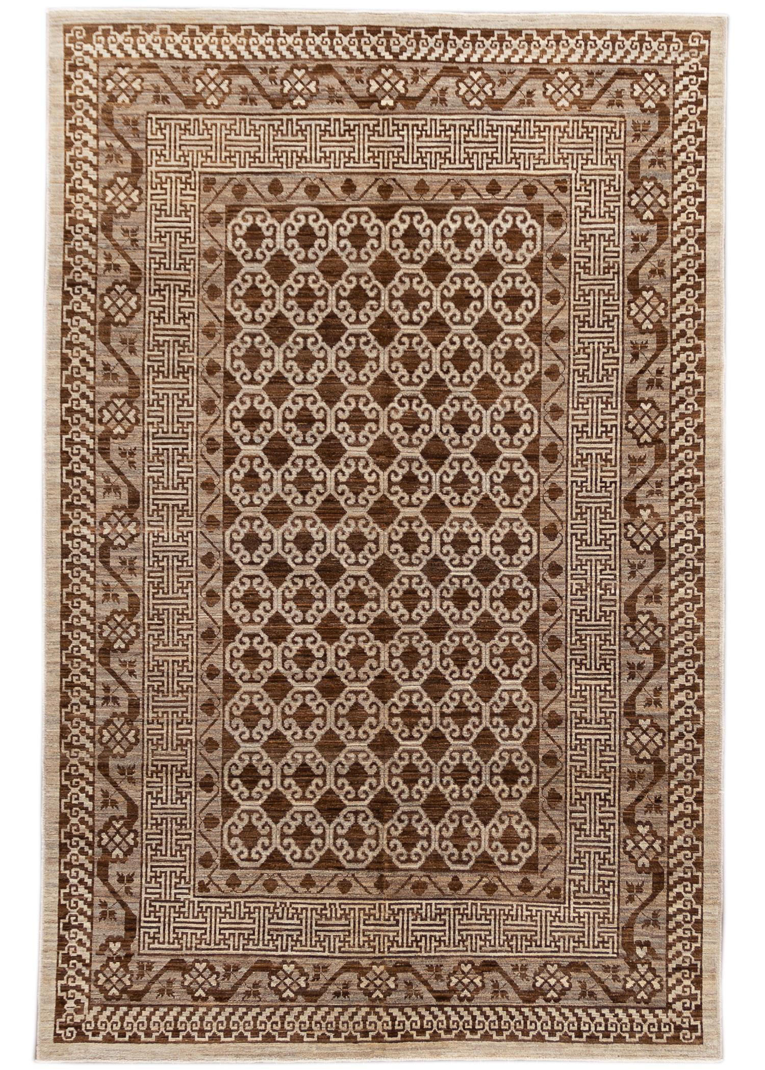 Contemporary Brown Khotan-Style Wool Area Rug 6' x 10'