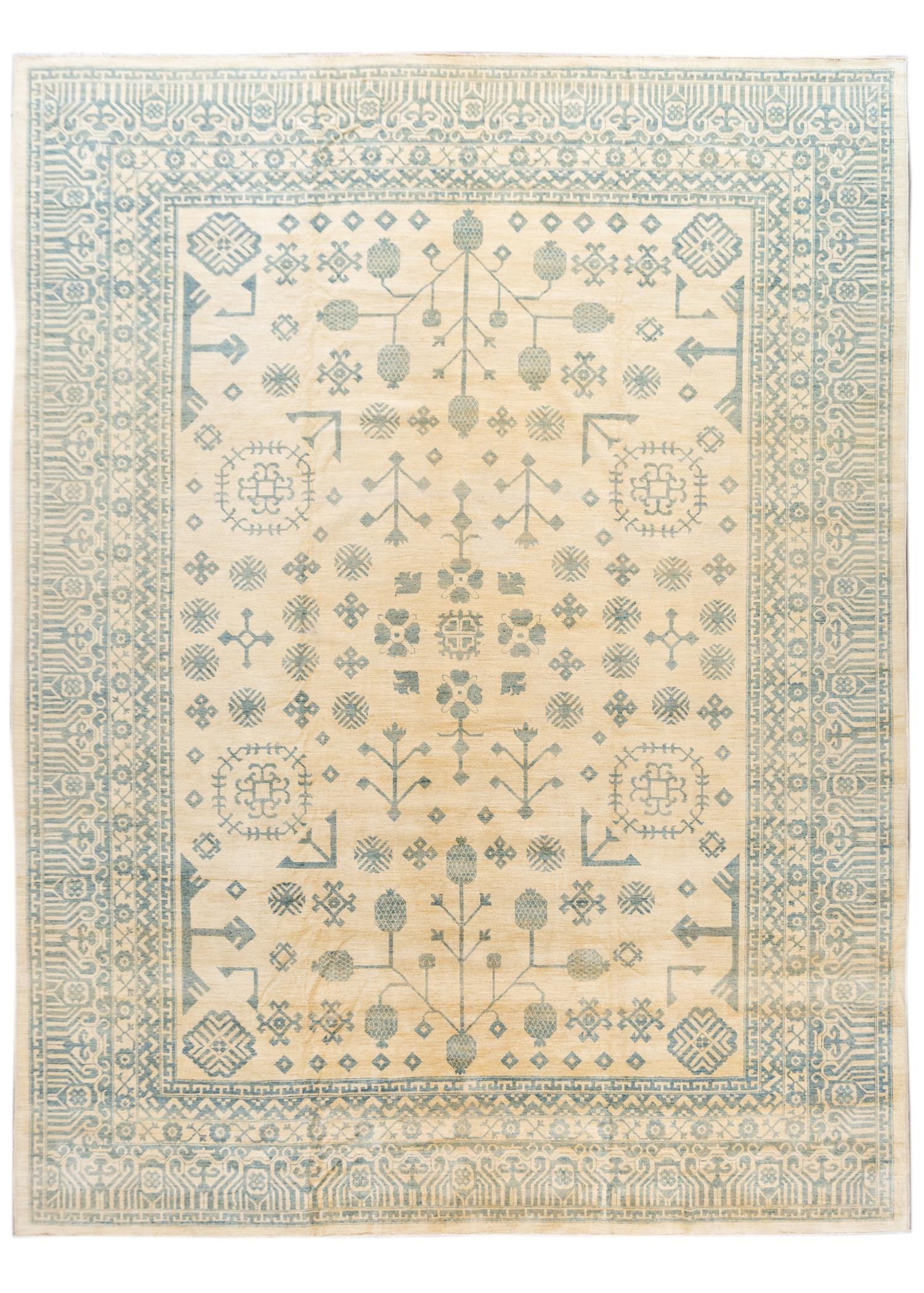 Contemporary Oversize Ivory and Blue Khotan-Style Wool Area Rug 13' x 18'