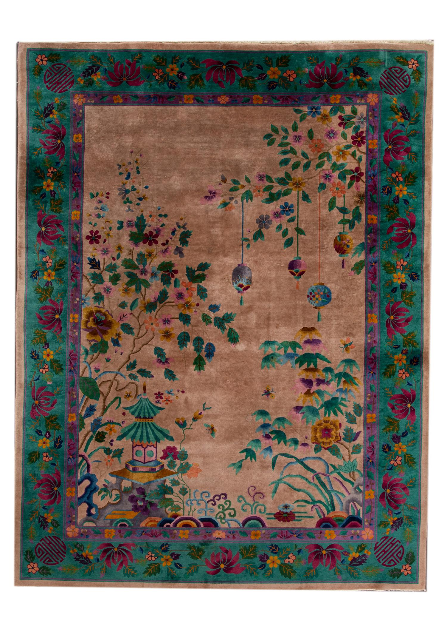 Antique Chinese Deco Rug, 9X12