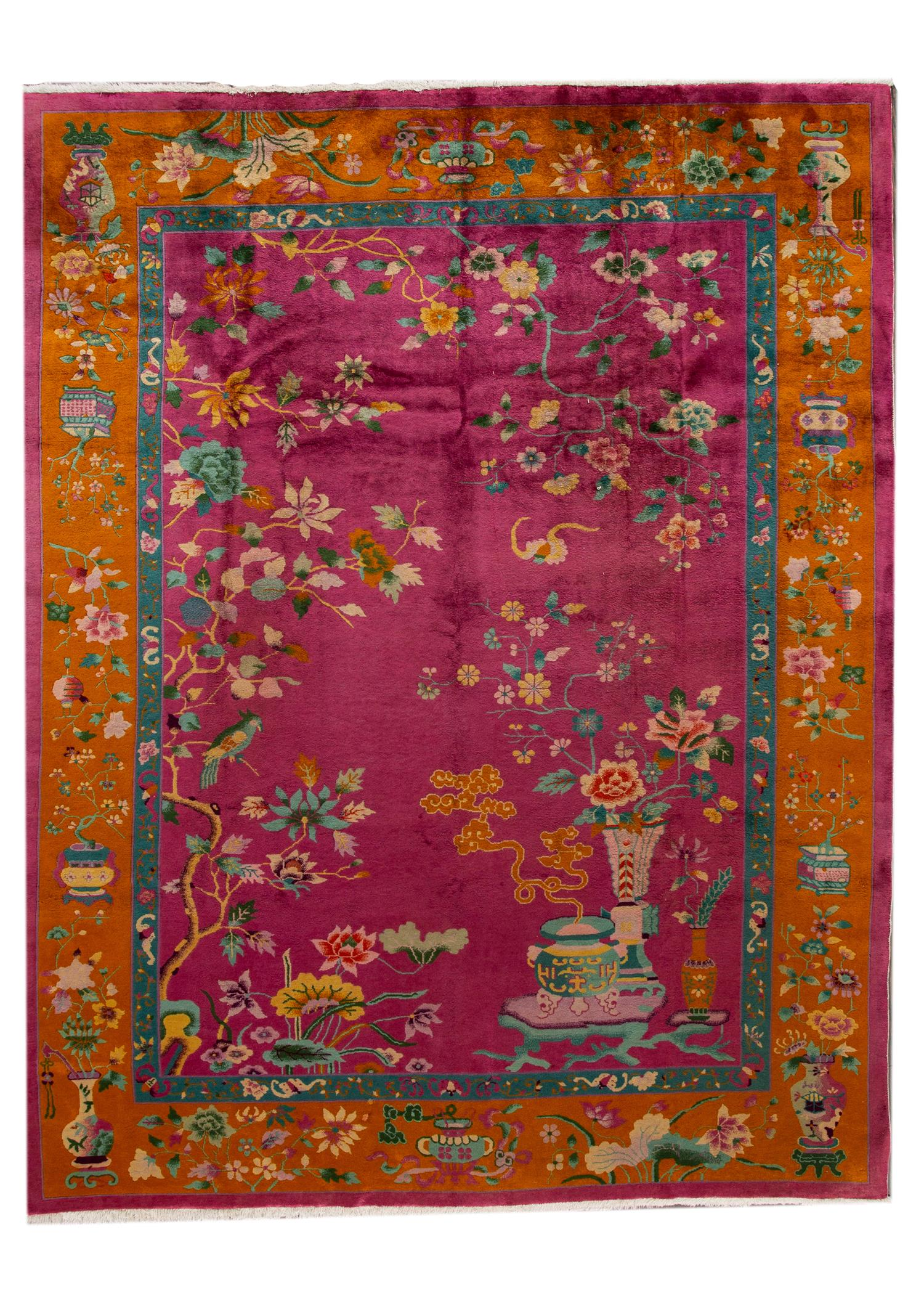 Antique Chinese Deco Rug, 9X11