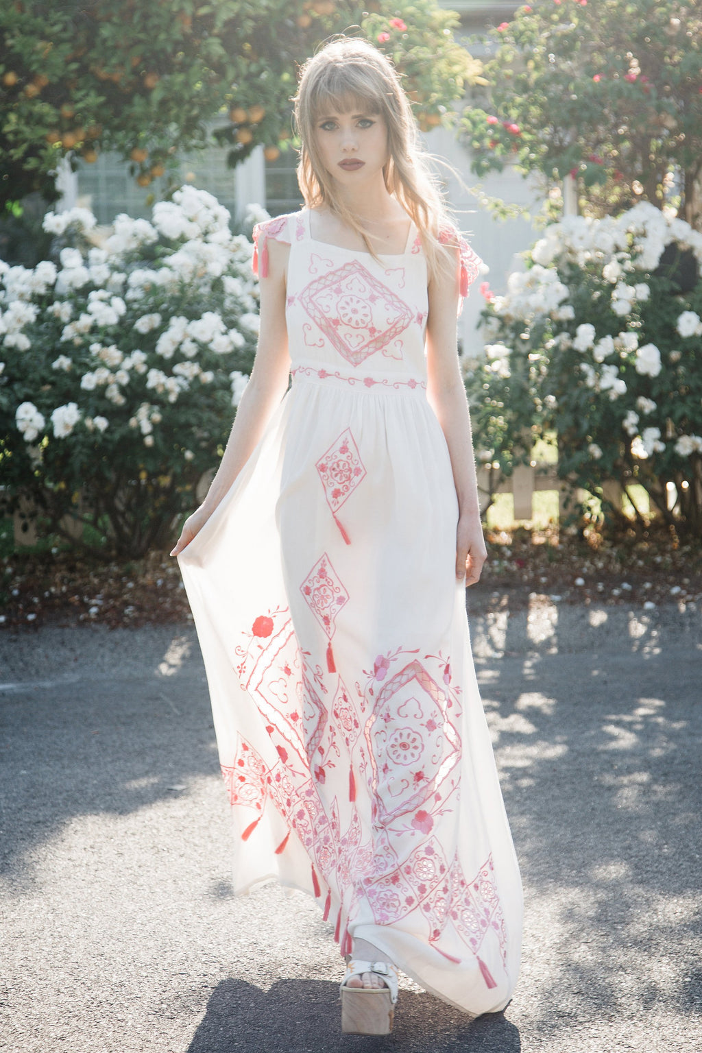 FILLYBOO - 'LOVE ON TIME' - EMBROIDERED MAXI DRESS - CANDY