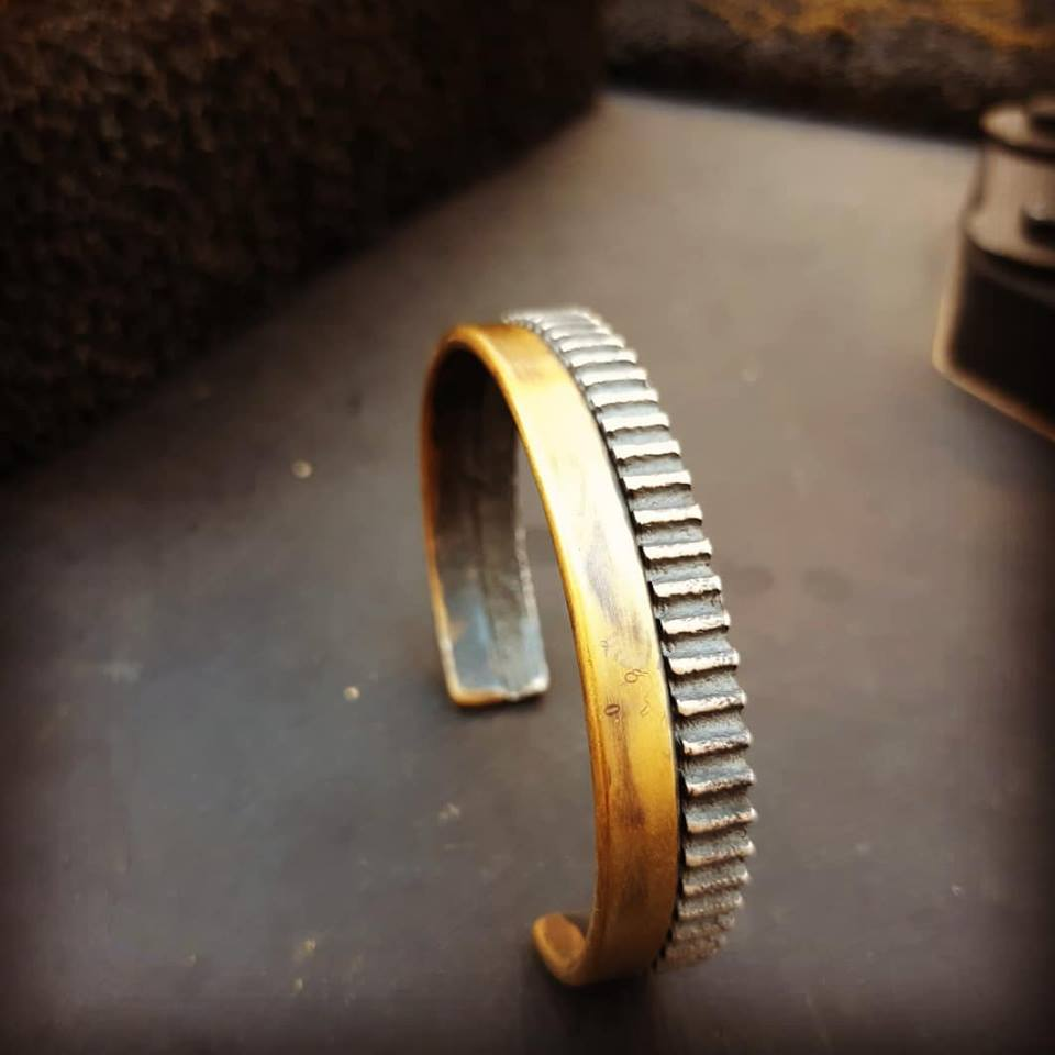 Fused Time-Silver & Brass-Cuff Bracelet