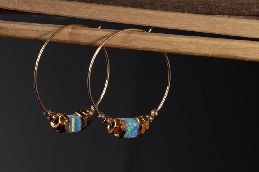 Gold Hoops-Blue Opal-Earrings-Big