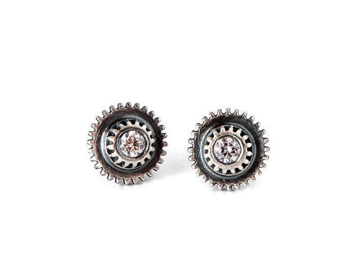 DoubleClick-Silver CZ Studs-Earrings