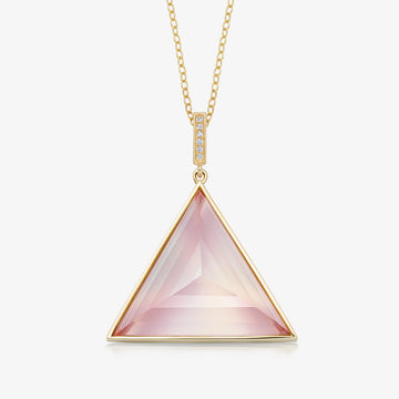 ROSE QUARTZ ULTIMATE GUARDIAN PENDANT WITH DIAMOND GOLD (LARGE)