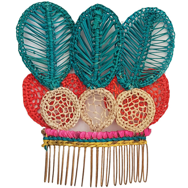 Turquoise Tulip Hair Comb - Sophie Anderson - Luxury Designer Bags - Artisan Women's Bags