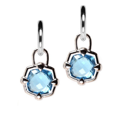 Silver Earring Charm with Blue Topaz