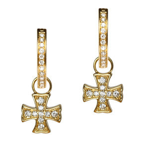18K Yellow Gold Diamond Maltese Cross Hoop Earring Charms