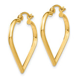 14k Yellow Gold Heart Shaped Hoop Earrings