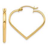 14K Yellow Gold Heart-Shaped Hoop Earrings with click-down clasp