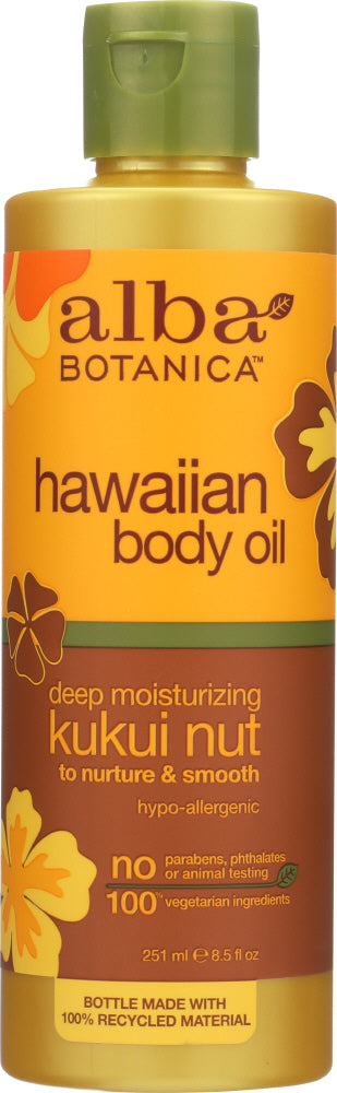ALBA BOTANICA: Hawaiian Body Oil Kukui Nut, 8.5 oz - One Body Beauty
